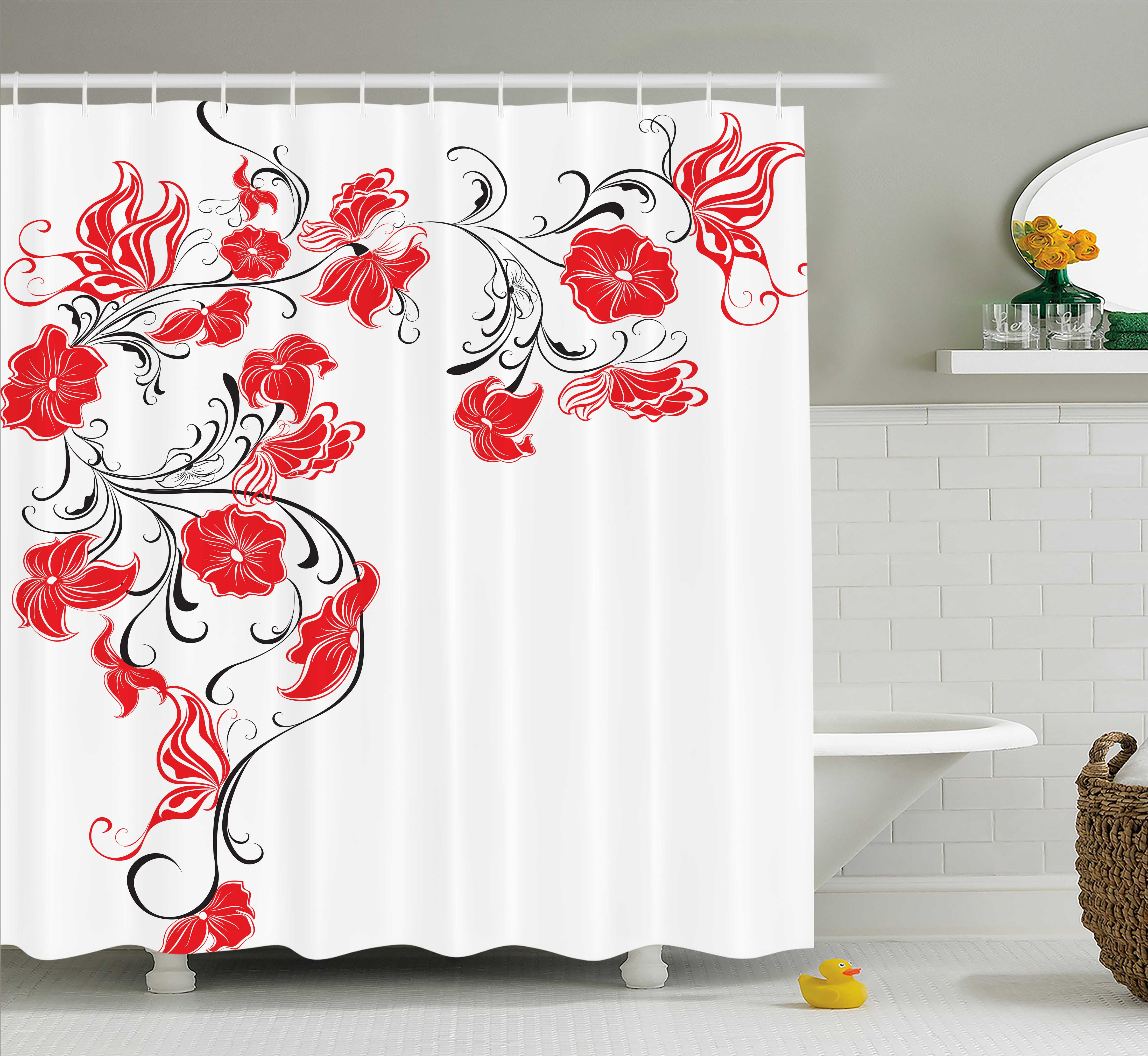 Red And Black Shower Curtain Set Red And Black Shower Curtain Japanese Asian Design Flowers Swirls Ivy And Leaves Butterflies Image Fabric Bathroom Set With Hooks Scarlet And