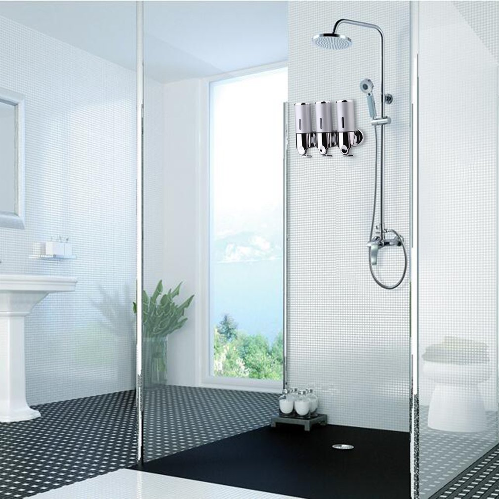 Bathroom Shower Dispensers Wall Mounted Stainless Steel Liquid Soap Dispensers Shower Shampoo