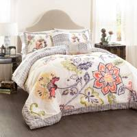 Aster Quilted Comforter Coral/Navy 5-Piece Set, King ...
