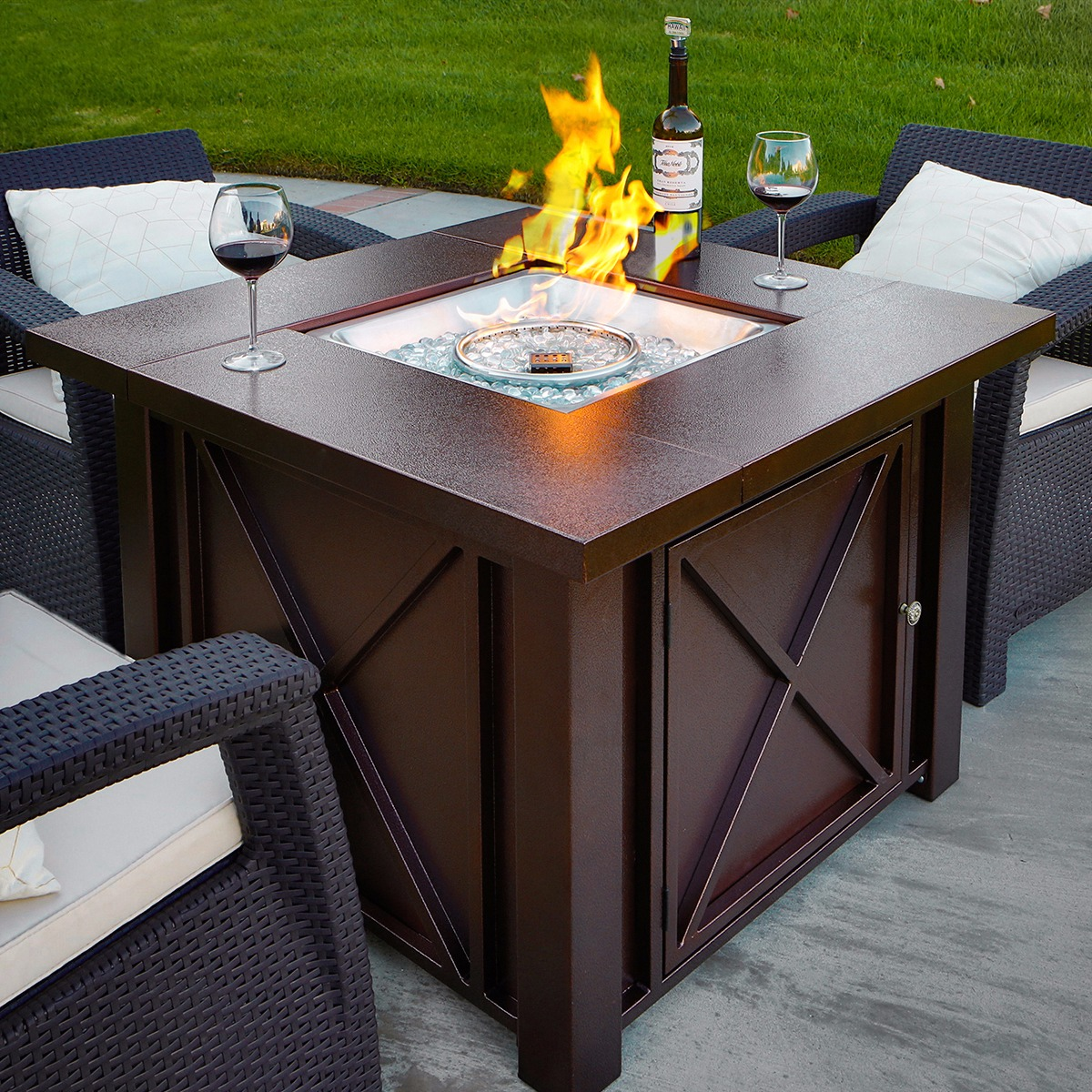 Outdoor Gas Fireplaces Details About New Lpg Fire Pit Table Outdoor Gas Fireplace Propane Heater Patio Backyard Deck