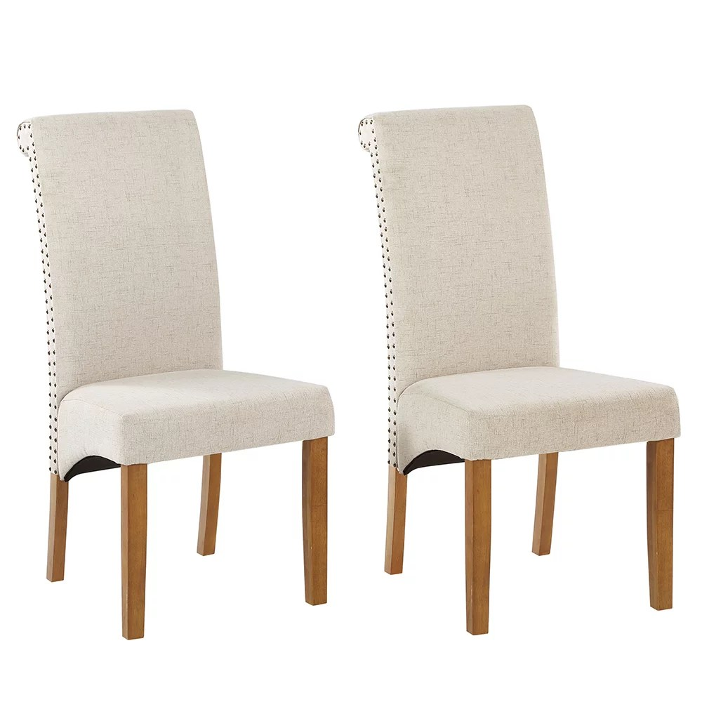 Veryke Victorian Upholstered Dining Chairs Set Of 4 Medieval Fabric Tufted High Back Armless Home Chairs With Nailed Trim Solid Wood Legs Side Chairs For Dining Room Living Room Kitchen Beige Walmart Com