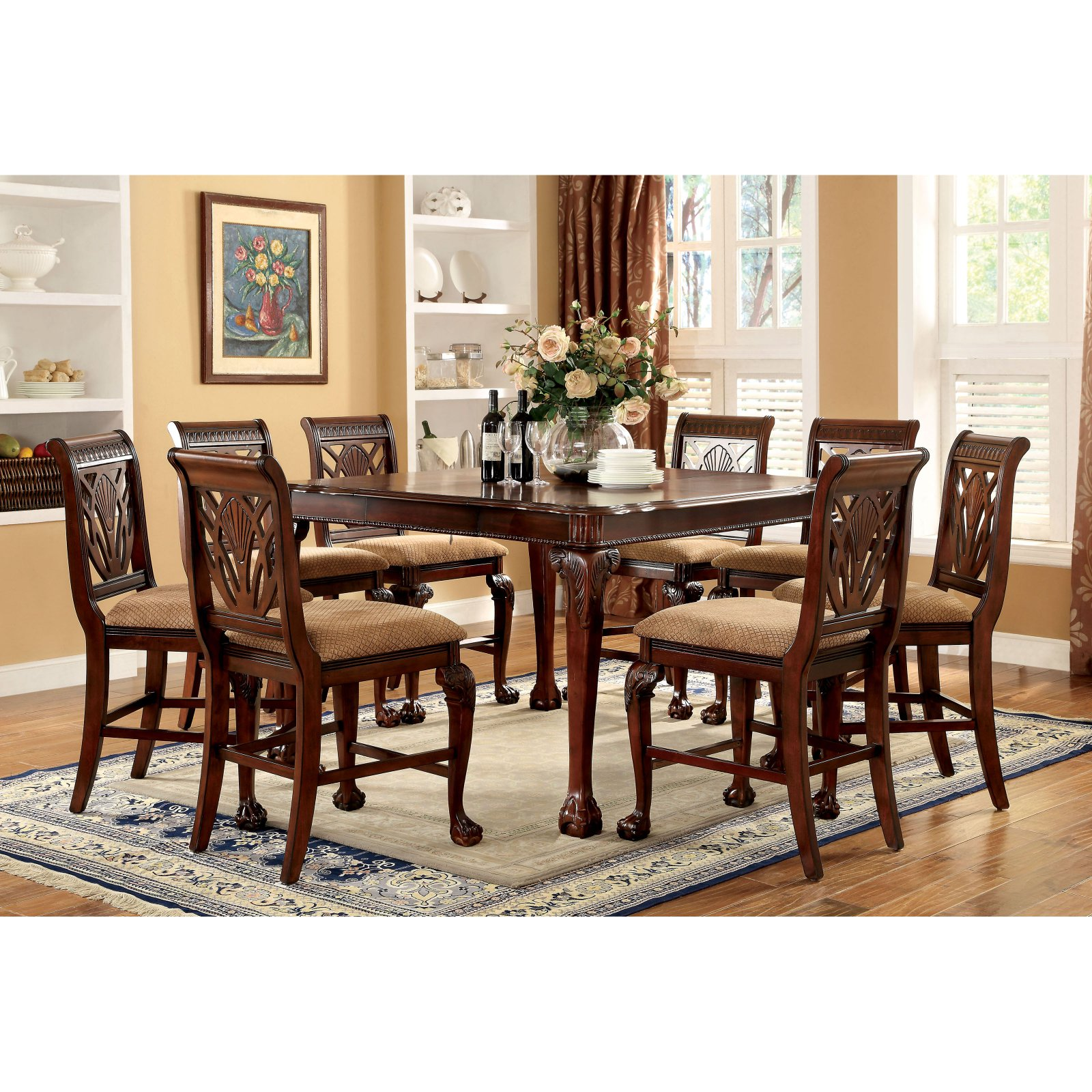 Classic Table Shapes Furniture Of America Harsburough Classic Counter Height 9 Piece Dining Table Set