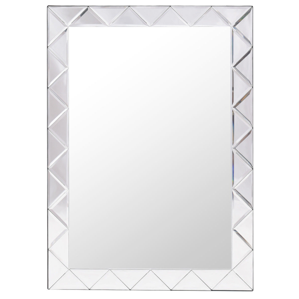 Decorative Mirror Gymax Rectangle Wall Decorative Mirror Framed Glass Barthroom