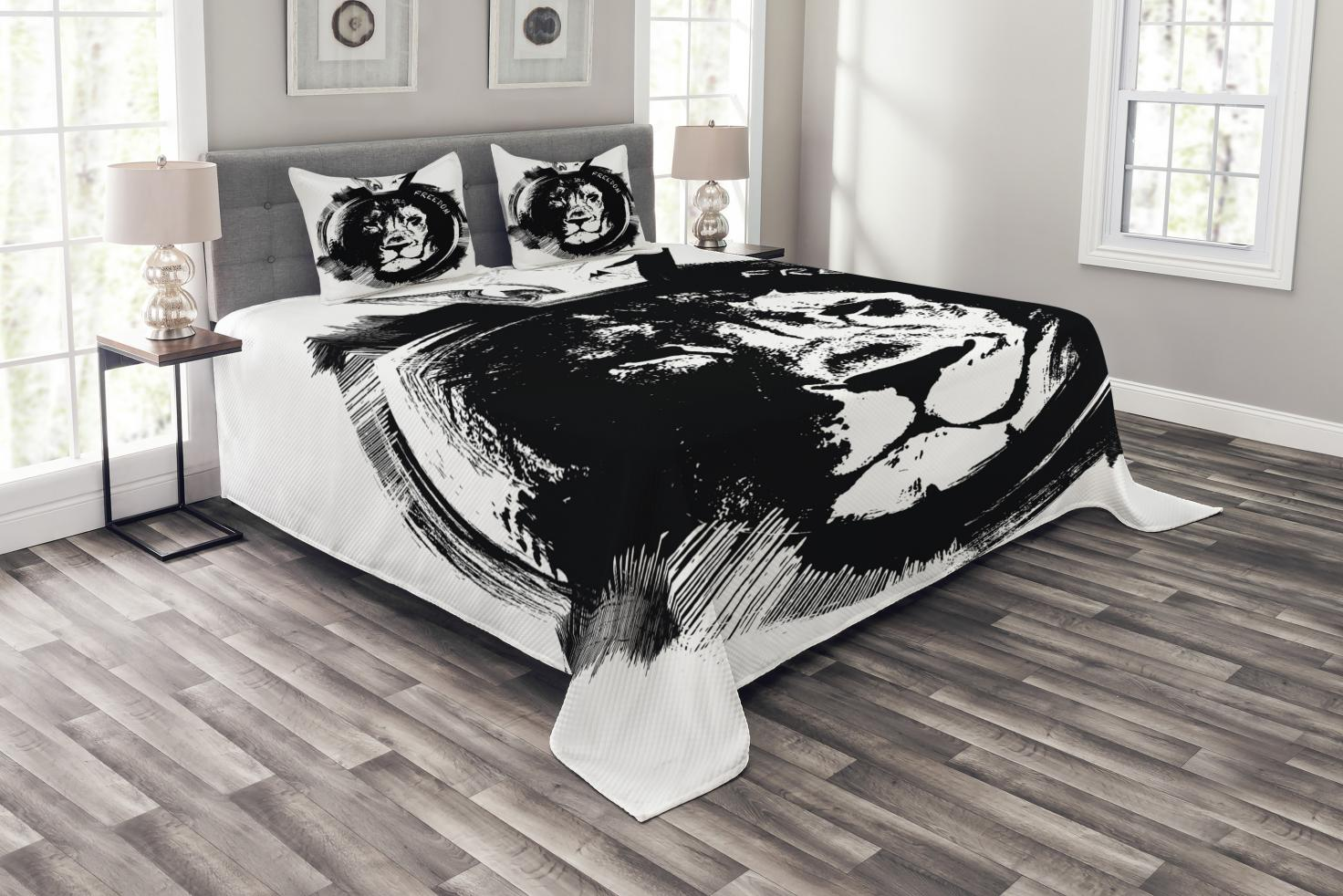 Freedom Bed Head Lion Bedspread Set King Of The Forest Lion Head Portrait Freedom Sketchy Monochrome Wild Animal Decorative Quilted Coverlet Set With Pillow Shams