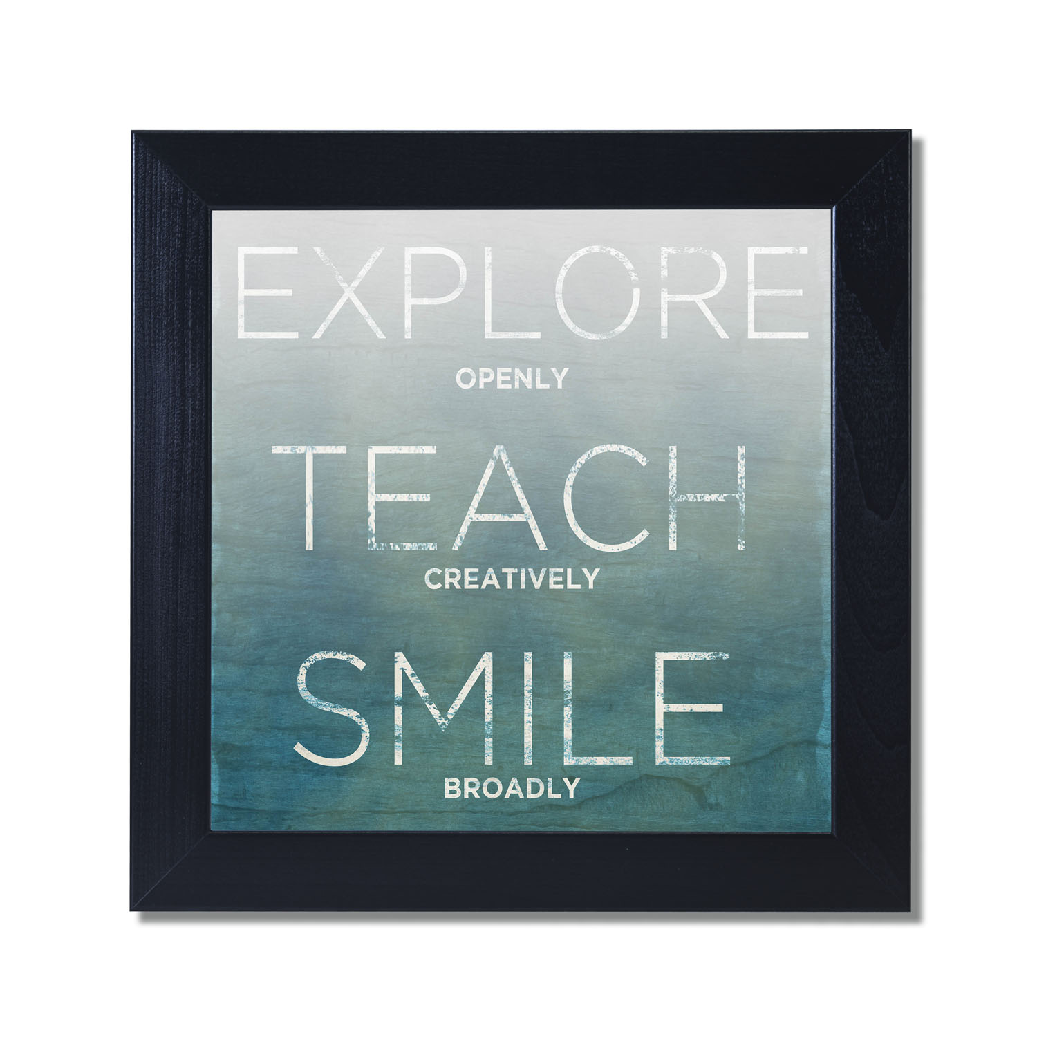 12x12 Poster Explore Teach Smile Black Framed Art Print Poster 12x12