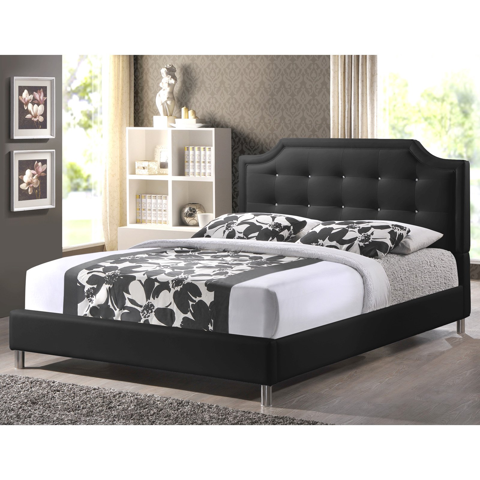 Buy A Bed Baxton Studio Carlotta Modern Bed With Upholstered Headboard Multiple Sizes Multiple Colors