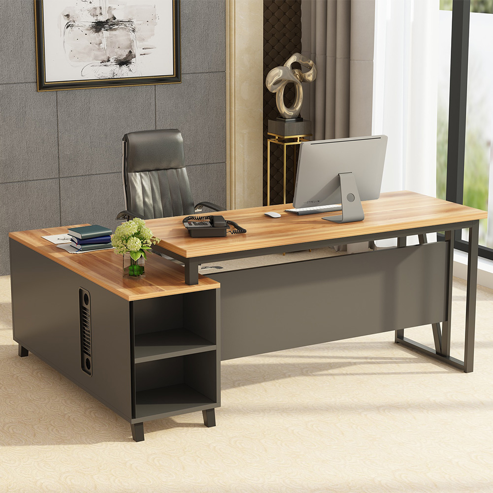 Executive L Shaped Desk Tribesigns Large L Shaped Desk Executive Office Desk Computer Table Workstation With Storage Business Furniture With File Cabinet Dark Walnut