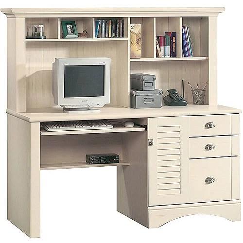 Sauder Harbor View Computer Desk with Hutch, Antiqued