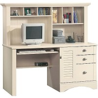 Sauder Harbor View Computer Desk with Hutch, Antiqued