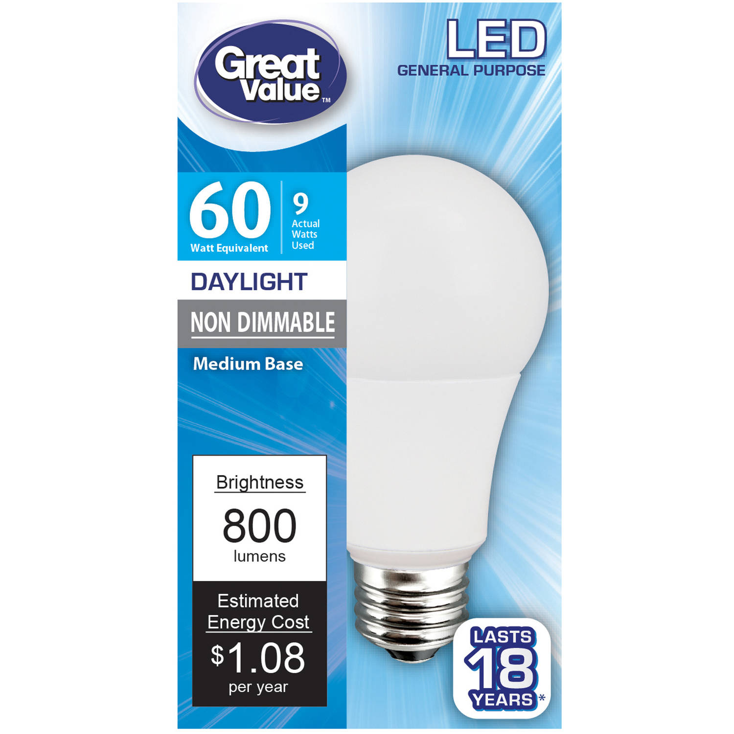 Led Lights At Walmart Great Value Led Light Bulb 9w 60w Equivalent A19 Lamp E26 Medium Base Non Dimmable Daylight