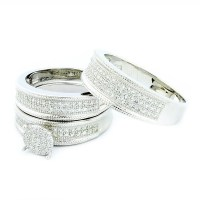 His and Her Rings Trio Wedding Set Sterling Silver With CZ ...
