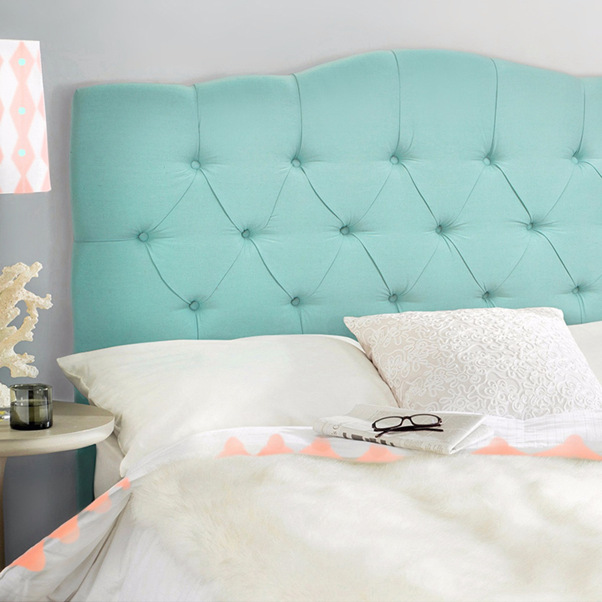 Bed Headboard Full Queen Bed Headboard Modern Tufted Fabric Sea Mist