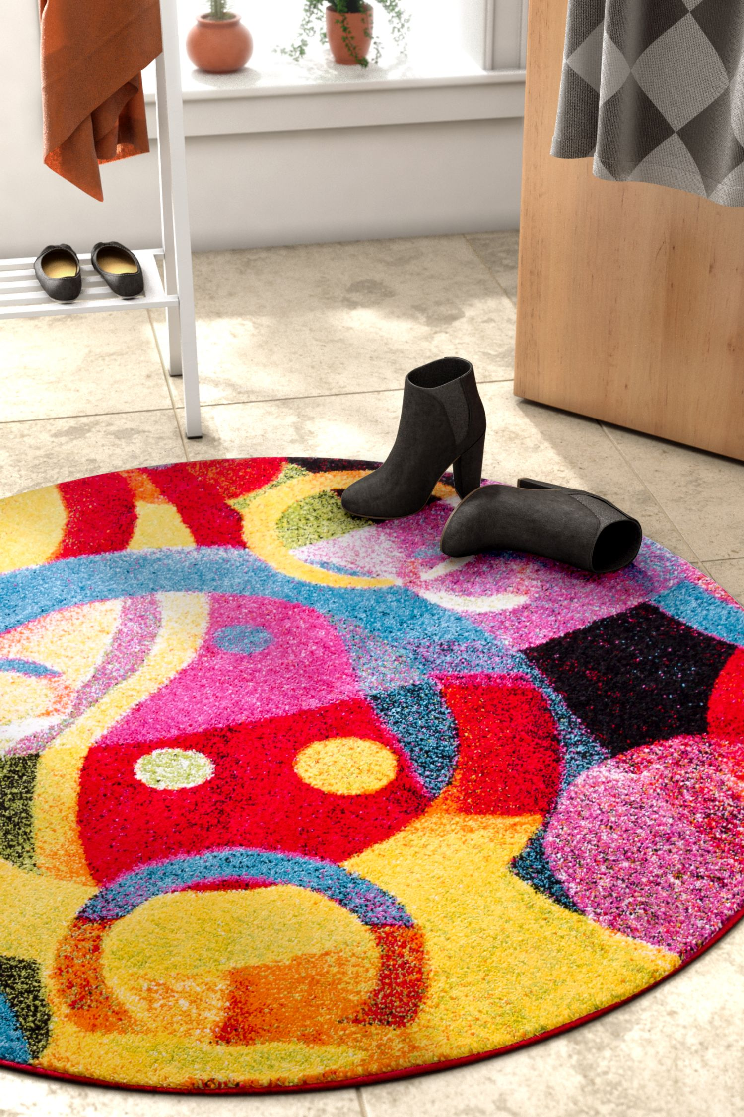 Viva Garage Floor Mats Well Woven Viva Brilliant Modern Geometric Abstract Multi 7 10