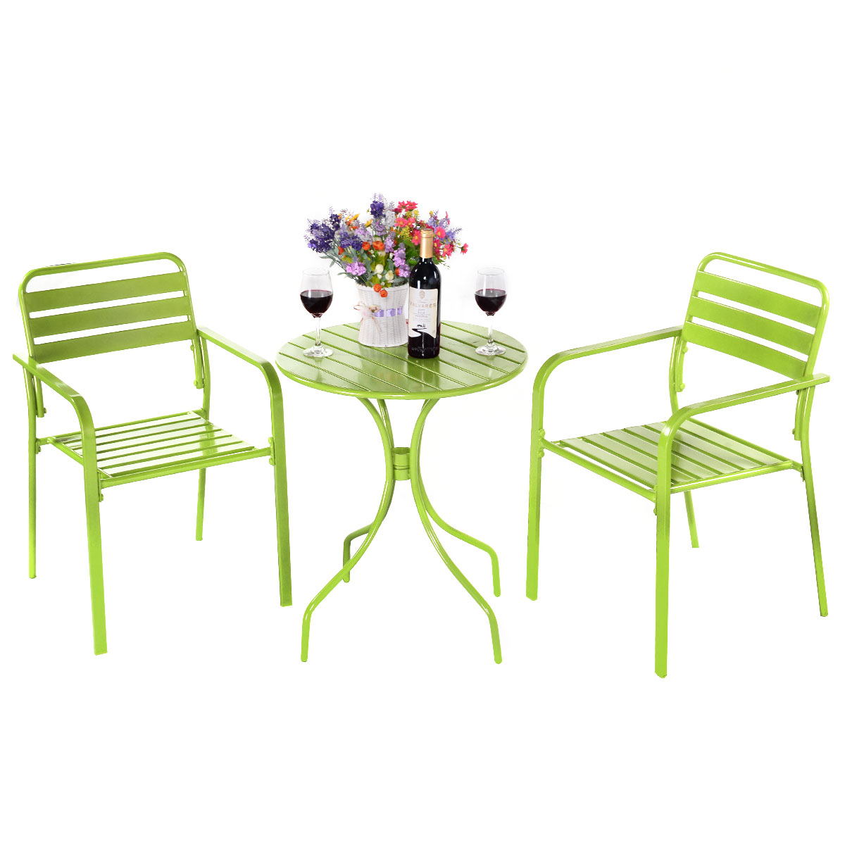 Round Table Patio Furniture Sets Costway 3pc Bistro Round Table Chair Furniture Set Table Patio Steel Bright Green