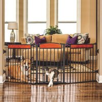 "Design Paw Arched Flexi Pet Gate - 76"" Wide - Walmart.com"