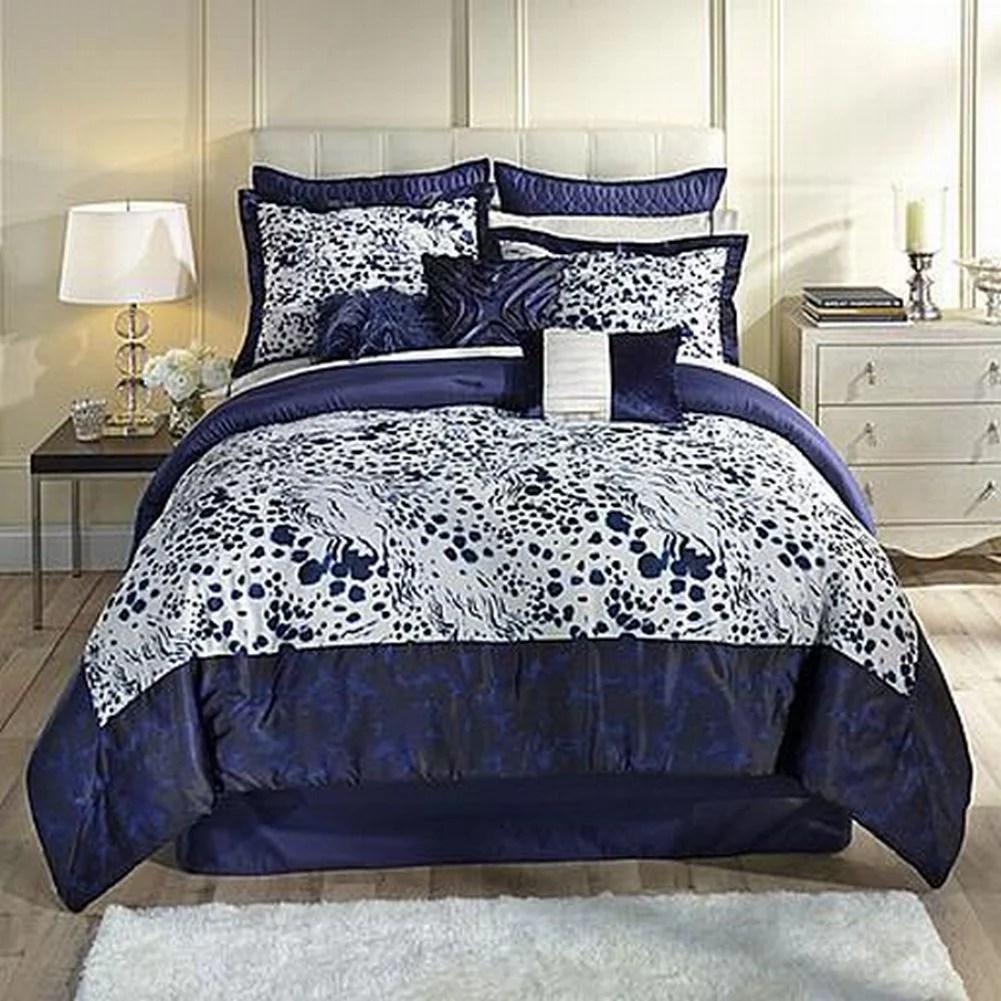 Kardashian Collection Indigo Blue Full Bed Comforter Set