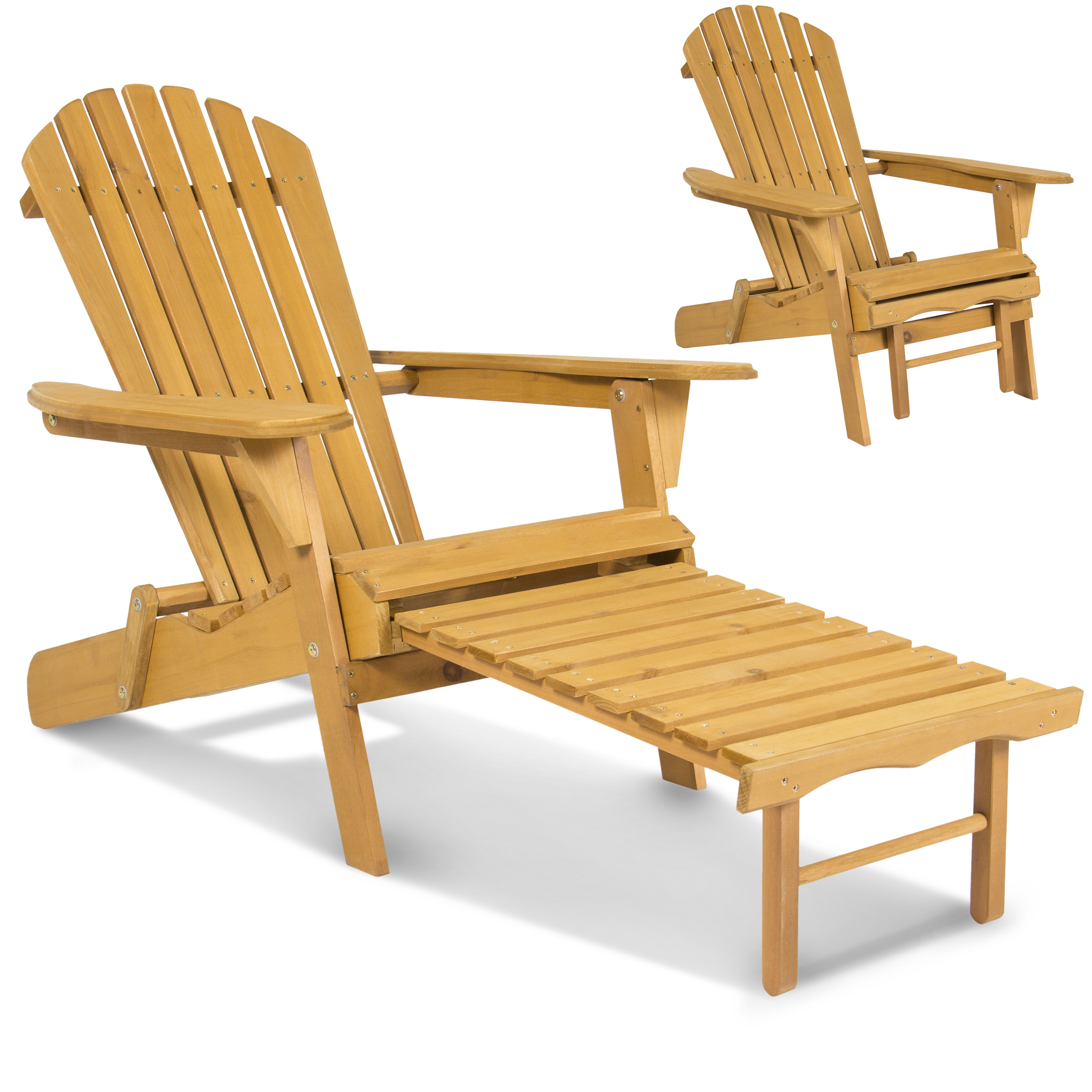 Outdoor wood adirondack chair foldable w pull out ottoman patio deck furniture walmart com