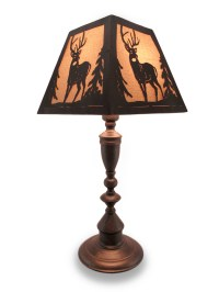Rustic Finish Metal Lamp w/Matching Deer Silhouette Shade ...