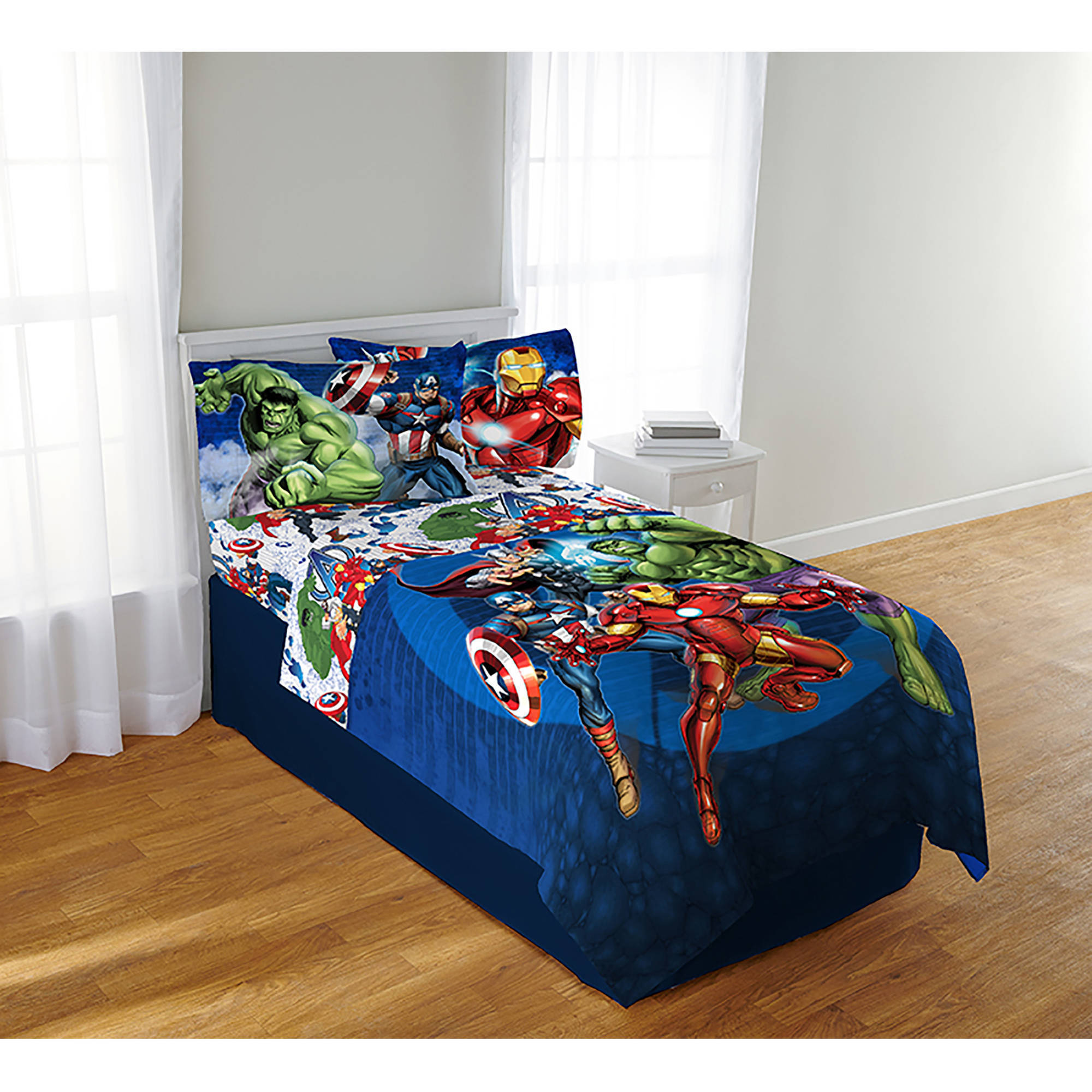 Avengers blue circle bedding sheet set twin full