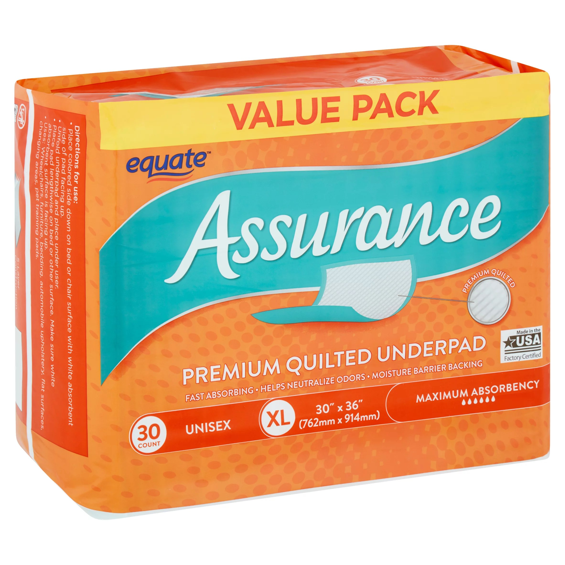 Assurance Garage Location Equate Assurance Maximum Absorbency Unisex Premium Quilted