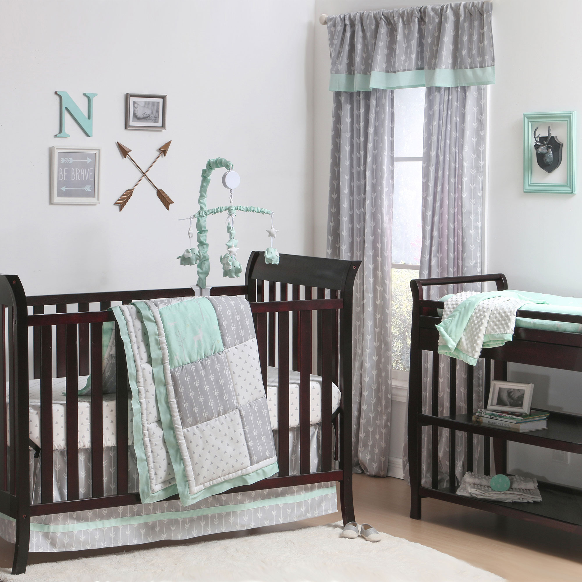 Patchwork Set Baby The Peanut Shell 3 Piece Baby Crib Bedding Set Mint Green Woodland And Geometric Patchwork 100 Cotton Quilt Crib Skirt And Sheet
