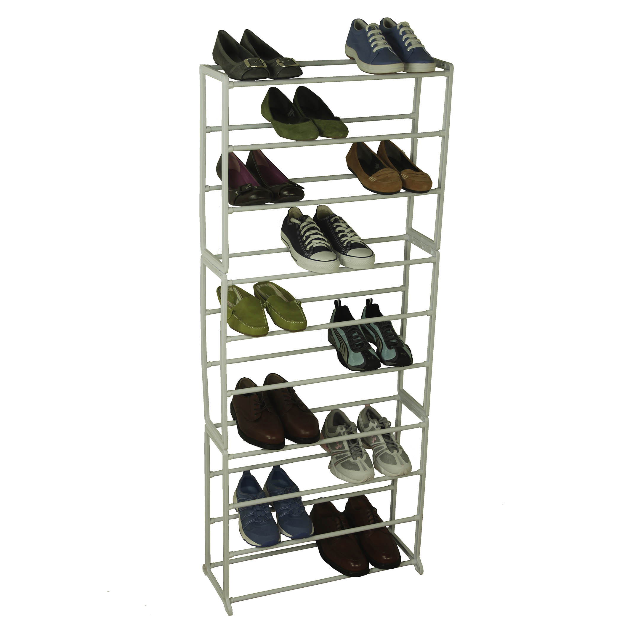 30 Pair Shoe Rack White Storage Rack Metal Shelf Home