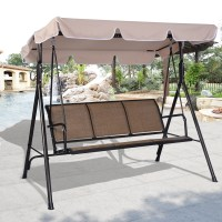 Costway 3 Person Outdoor Patio Swing Canopy Awning Yard ...