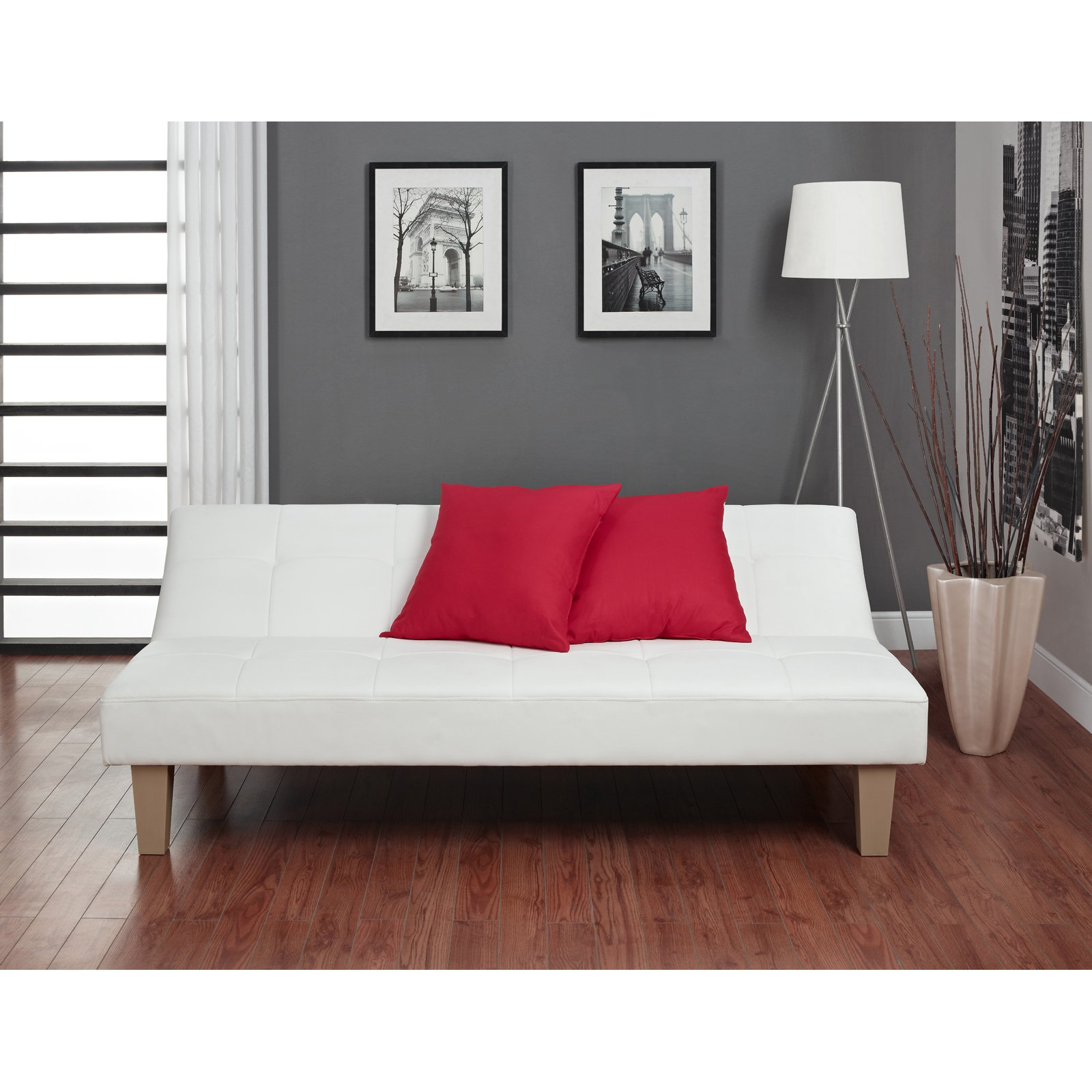 Futon Nice Dhp Aria Futon Sofa Bed White Faux Leather Upholstery