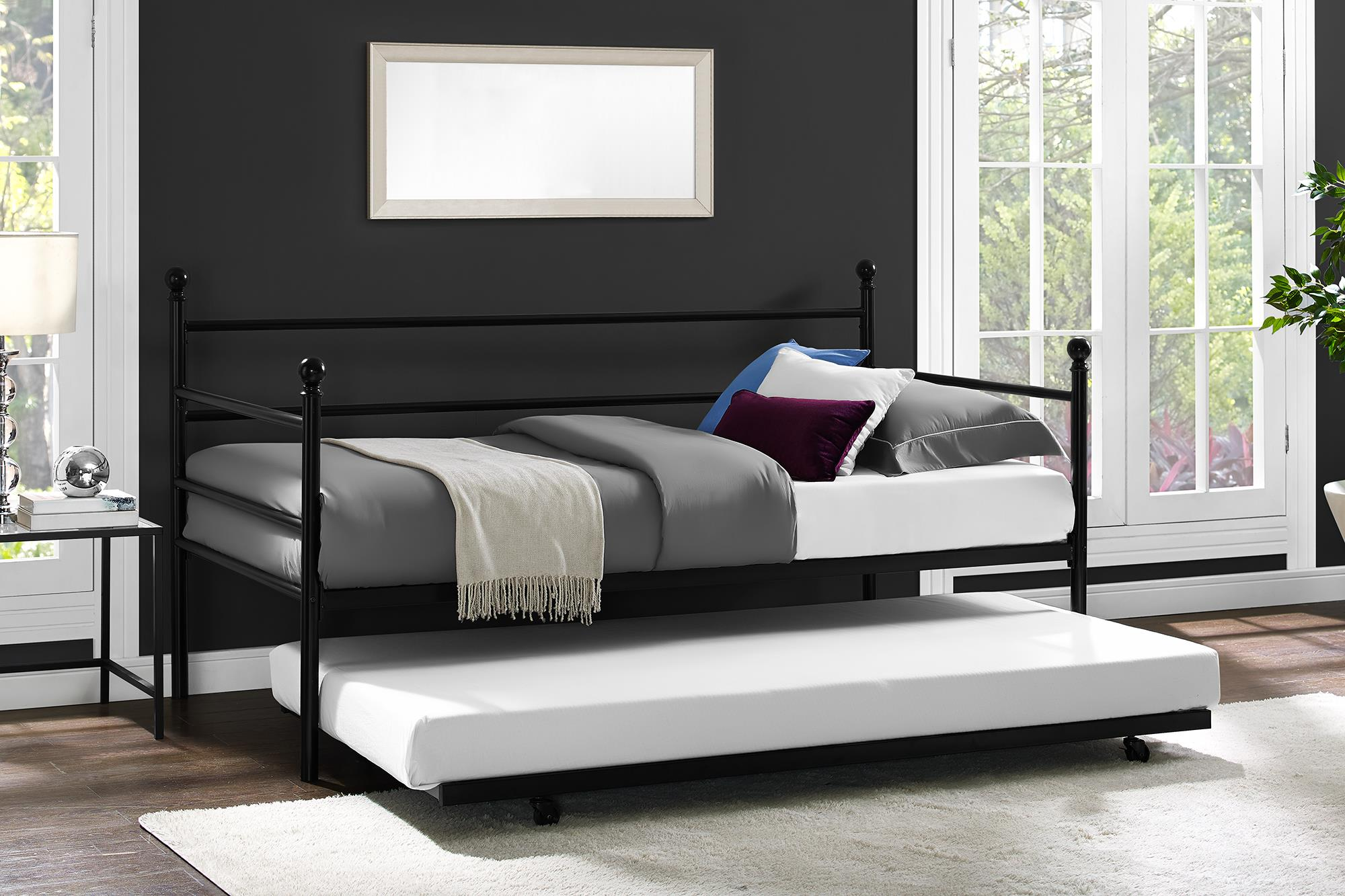 Daybed With Trundle Twin Size Metal Frame Bed Space Saving