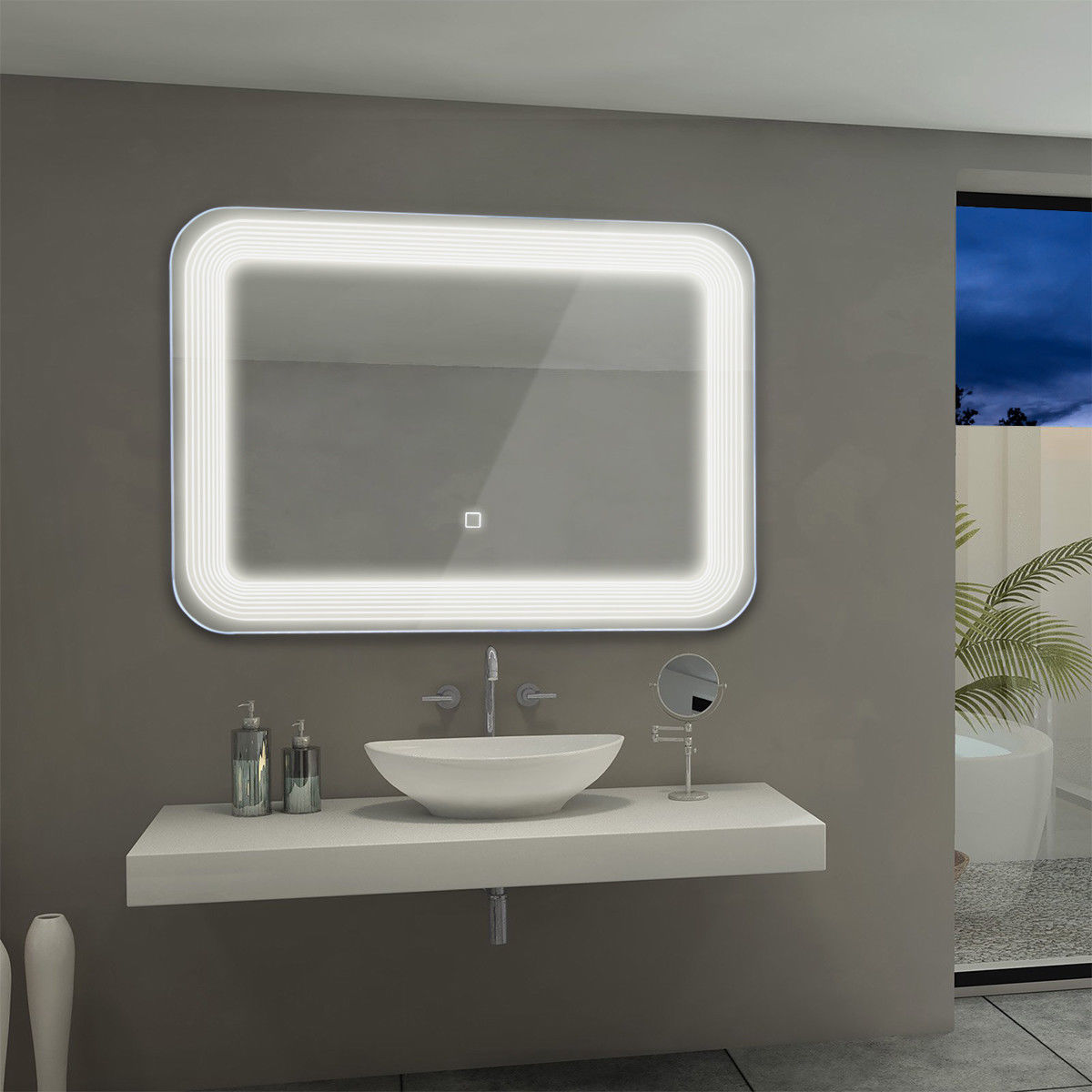 Costway Led Wall Mount Mirror Bathroom Vanity Makeup Illuminated Mirror W Touch Button Walmart
