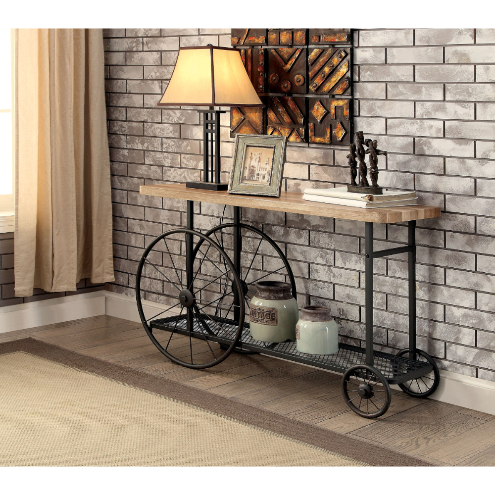 Walker Edison Sofa Console Table With Wooden Top And Metal Wheels Base Sand Black Walmart Com Walmart Com