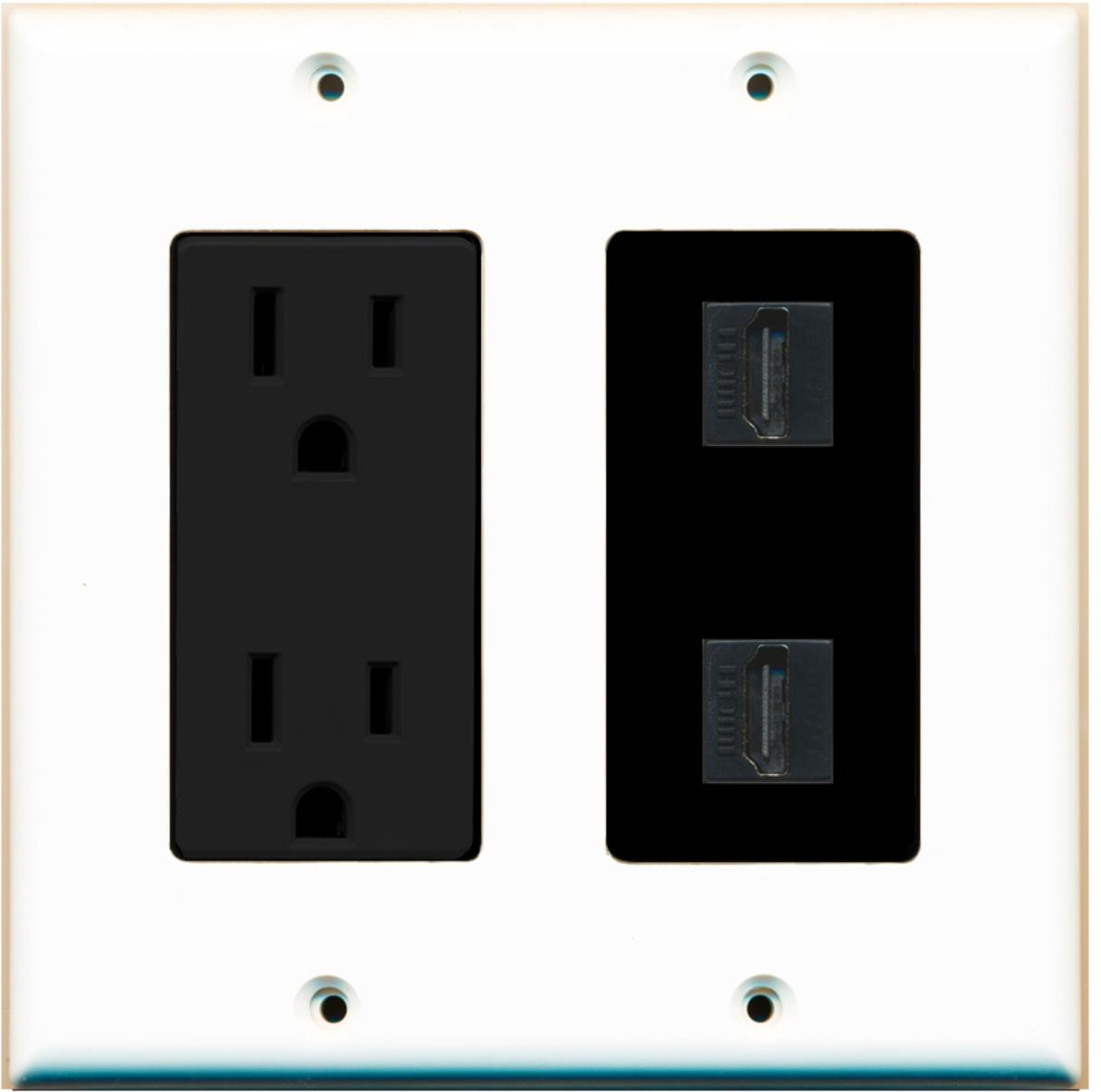Hdmi Outlet Riteav 15 Amp Power Outlet 2 Port Hdmi Decora Wall Plate White Black
