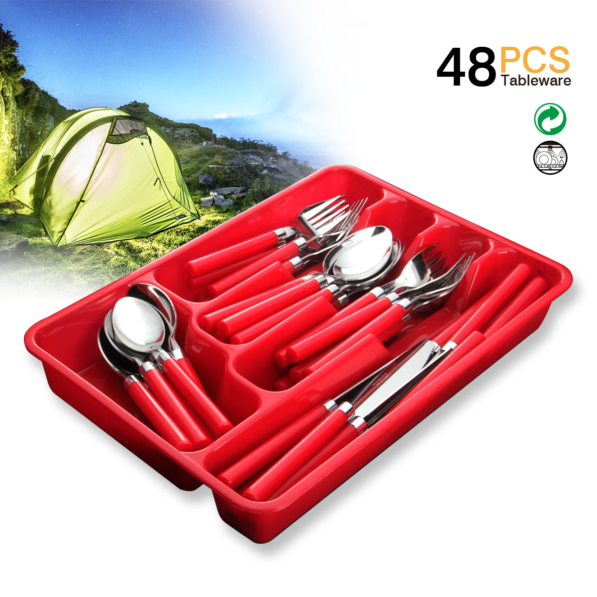 Red Handle Flatware Silverware Set Moxinox 48 Piece Flatware Tableware Plastic Handle Steak Knife Spoons Forks Knives Box Fork With Cutlery Tray Red