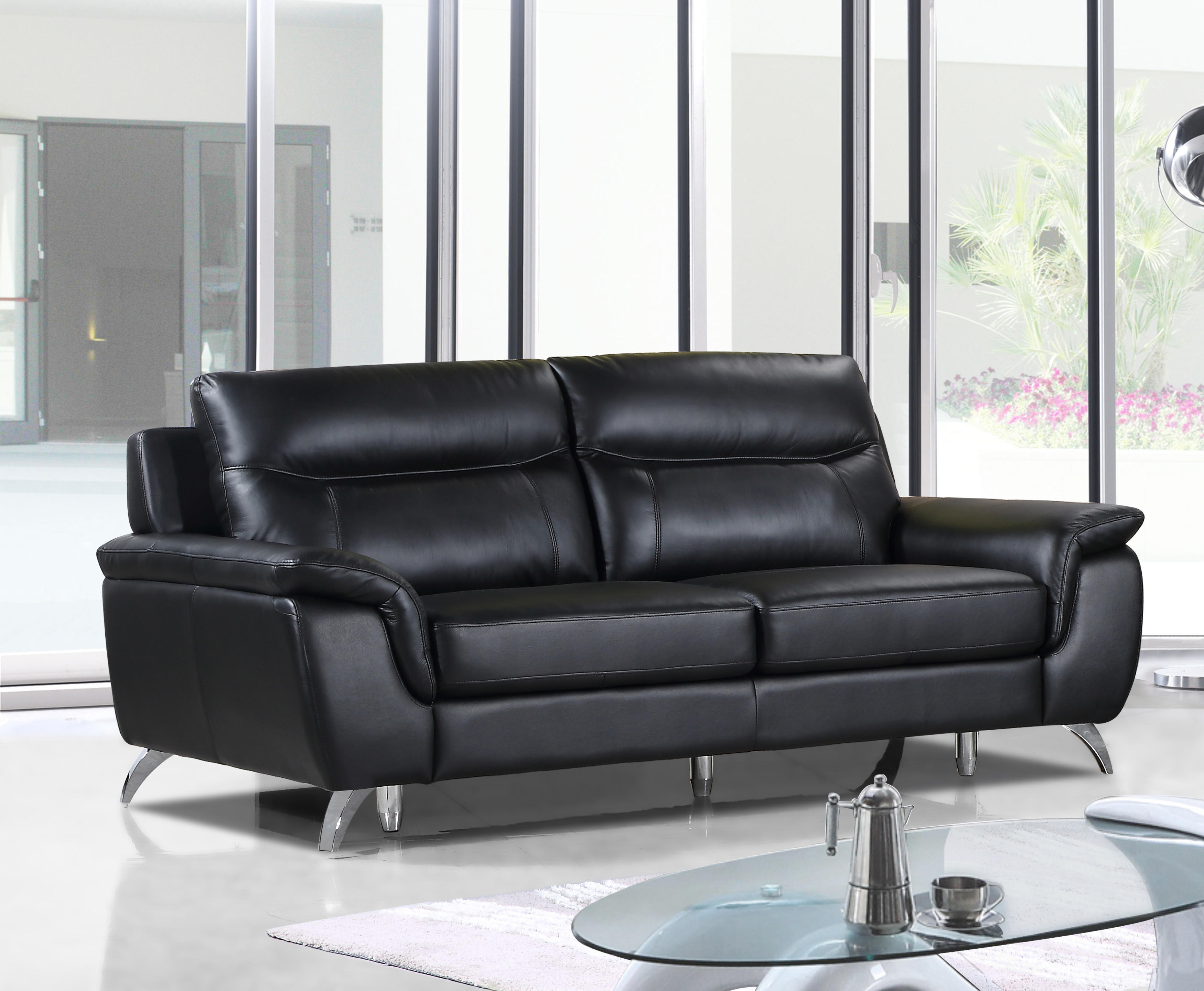 Cortesi Home Chicago Genuine Leather Sofa Black 79