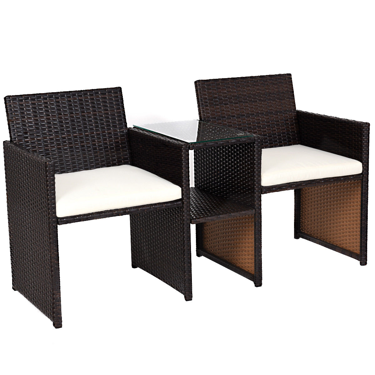 Rattan Table Costway Patio Rattan Loveseat Table Chairs Chat Set Seat Sofa Conversation Cushioned