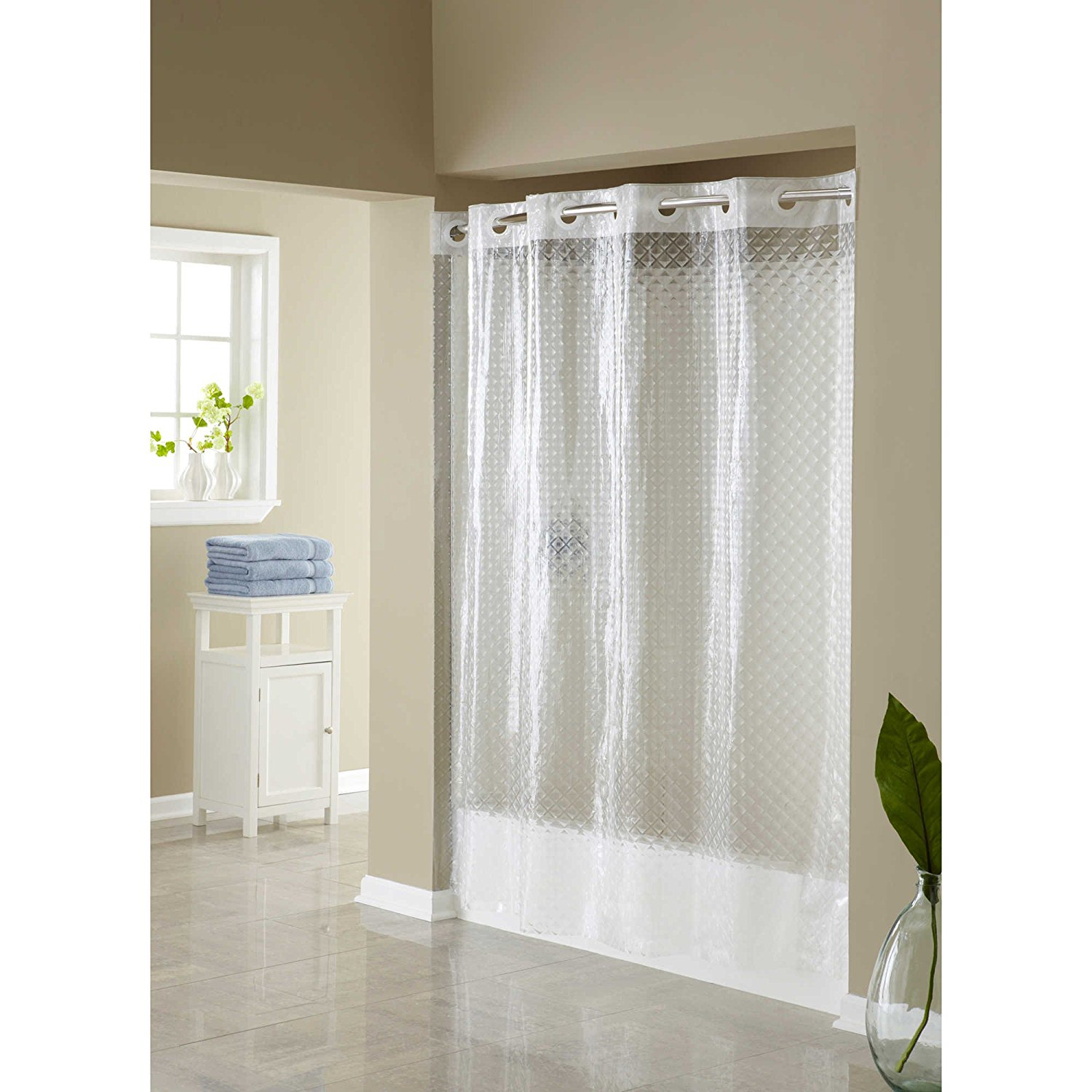Shower Curtains For Less Hangs In Seconds Eva Shower Curtain Clear Diamond It Allows You To Hang The Curtain In Less Than 10 Seconds By Hookless