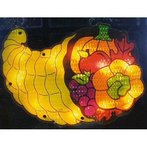 "16"" Lighted Thanksgiving Cornucopia Window Silhouette"