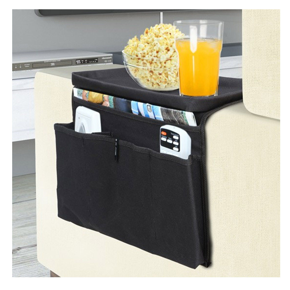 Sofa Arm Organizer Tray Sofa Arm Rest Organizer 5 Pocket Caddy Couch Tray Remote Control Holder Table