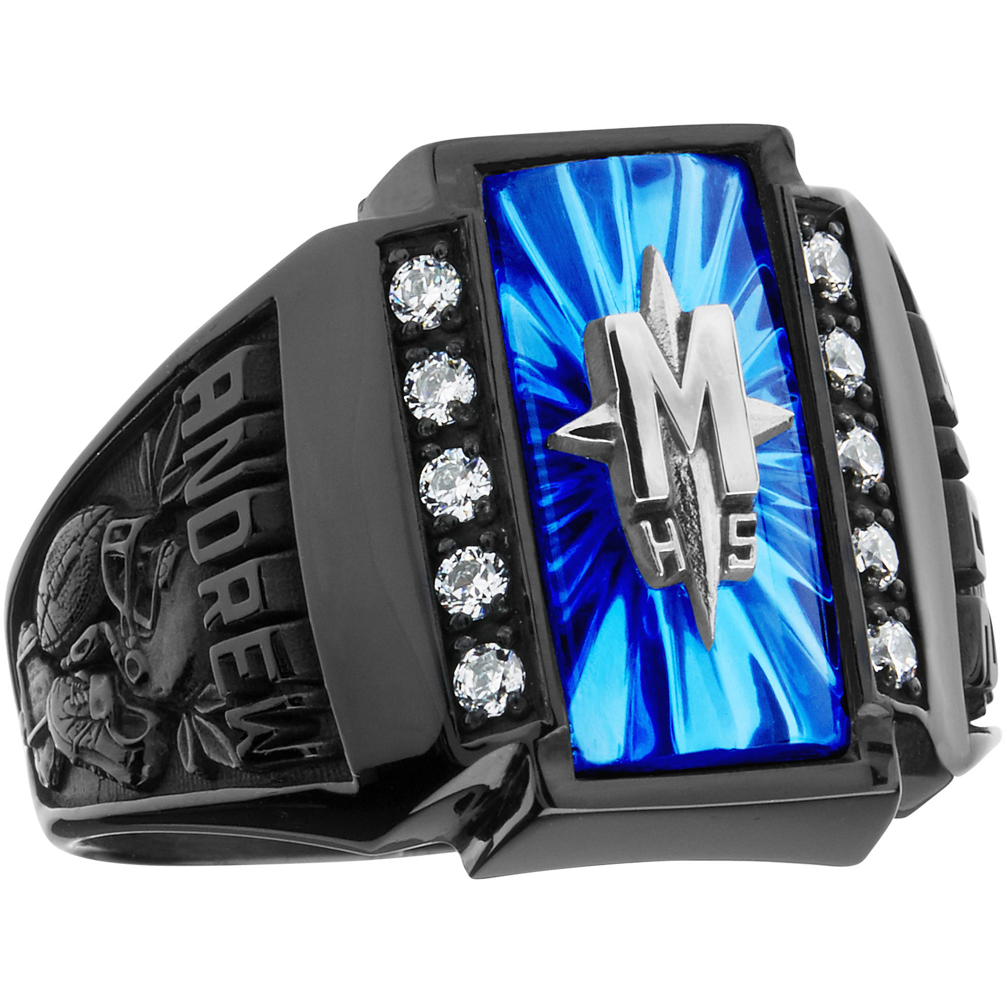 keepsake wedding rings Keepsake Guy s Crest CZ Side Panel Class Ring