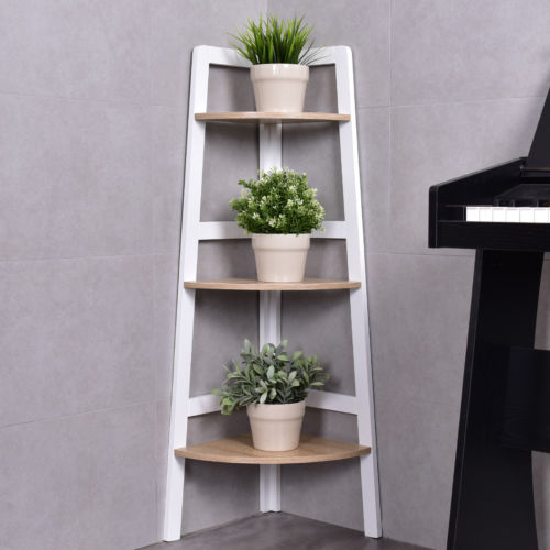 Costway 3 Tier Wood Corner Bookcase Shelf Ladder Shelf