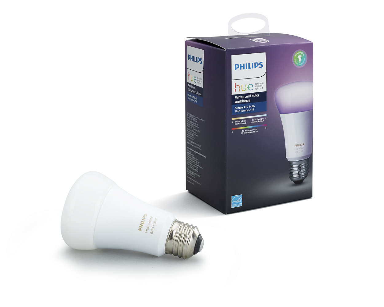 Philips Hub Philips Hue White And Color Ambiance A19 Smart Light Bulb 60w Led 1 Pack