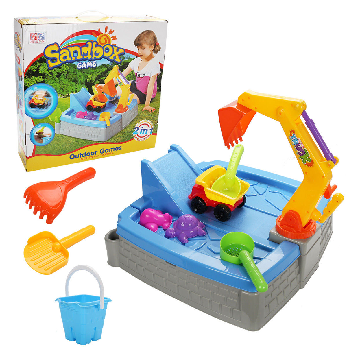 Gymax Kids Big Digger Sandbox With Cover Activity Outdoor