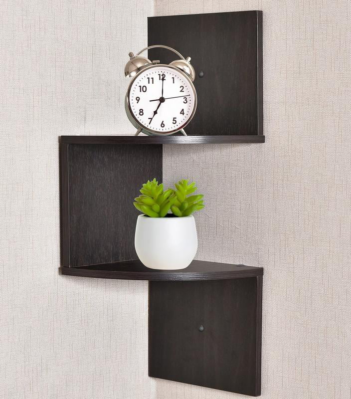 Greenco Zigzag 2 Tier Corner Floating Shelves Espresso