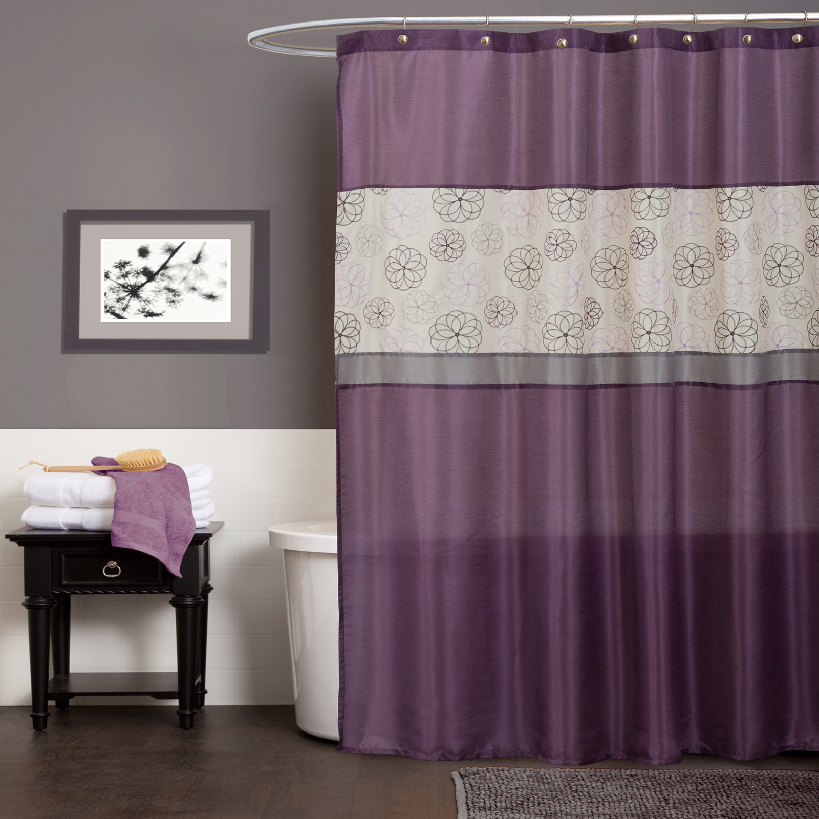 Bathroom Ideas With Shower Curtains Covina Purple Shower Curtain