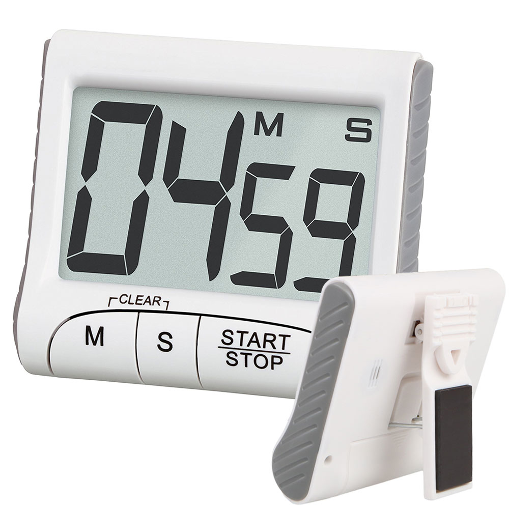 Alarm Timer Digital Kitchen Timer Stopwatch Large Lcd Display Digits Loud Alarm Magnetic Stand