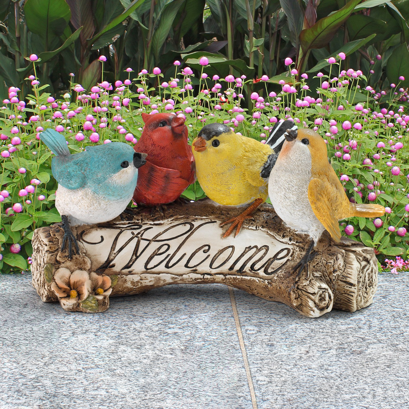 Welcome Statues Garden Design Toscano Birdy Welcome Statue