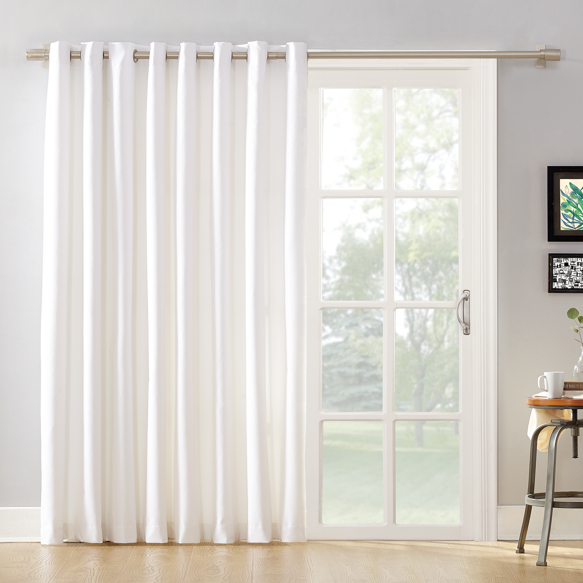 Sliding Door Curtain Mainstays Sliding Glass Door Thermal Lined Room Darkening Grommet Curtain Panel