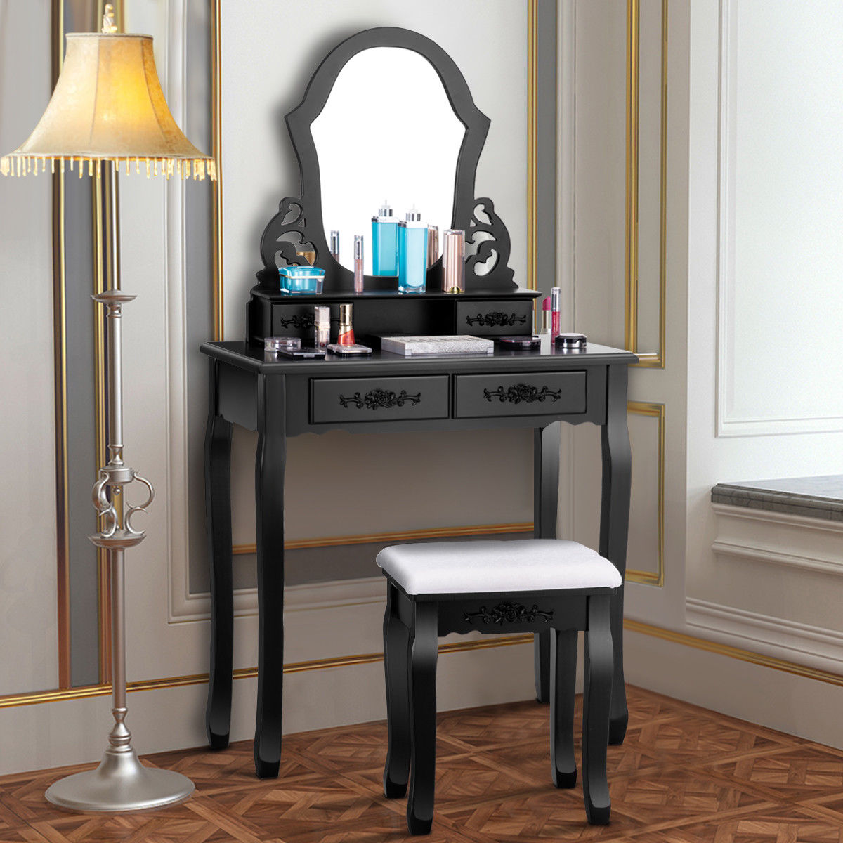 Wooden Make Up Table Costway Vanity Makeup Dressing Set Table Jewelry Wooden Stool Mirror 4 Drawer Black