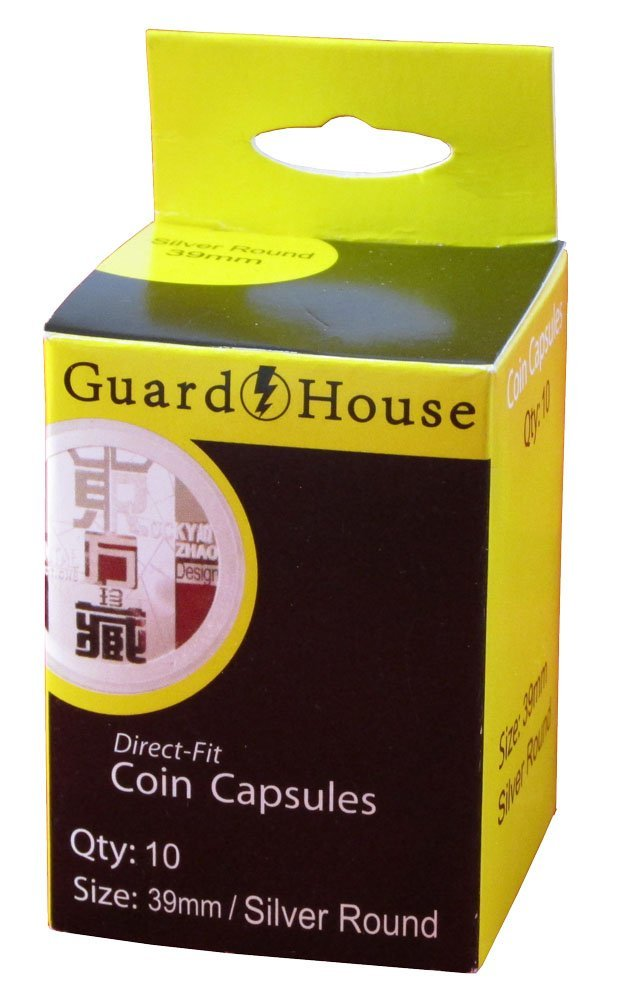 Guardhouse Box of 10 Direct Fit 39mm Coin Holders Silver