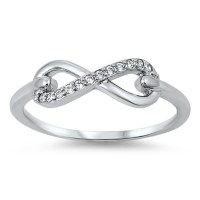 Sac Silver - Women's Infinity Clear CZ Promise Ring ...